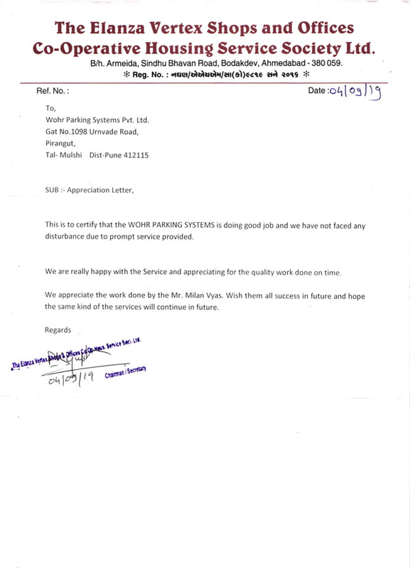 Letter Of Appreciation For Service from www.wohrparking.in